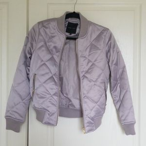 Quilted satin bomber